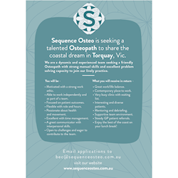 Sequence Osteo is a dynamic and experienced team seeking a friendly Osteopath with strong manual skills and excellent problem solving capacity to join our chilled coastal practice.
